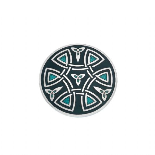 Celtic Trinity Coils Brooch Green Silver Plated Brand New Gift Packaging